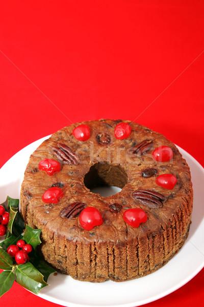 Fruitcake Ring on Red Stock photo © lisafx