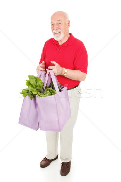 Foto d'archivio: Senior · uomo · negozi · verde · sani · home
