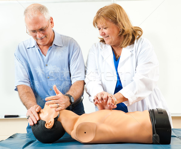 Mature Man Learning CPR Stock photo © lisafx