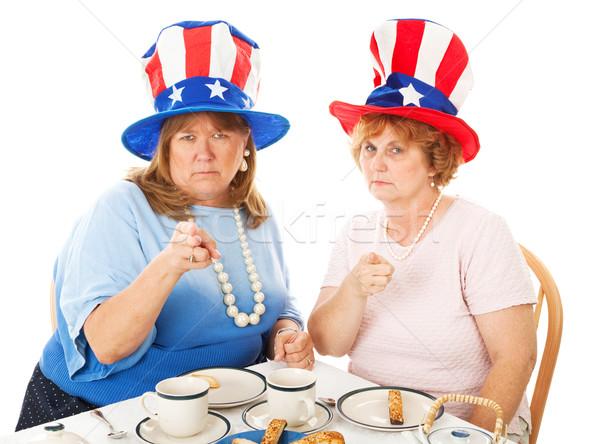 çay parti üzgün iki muhafazakâr amerikan Stok fotoğraf © lisafx