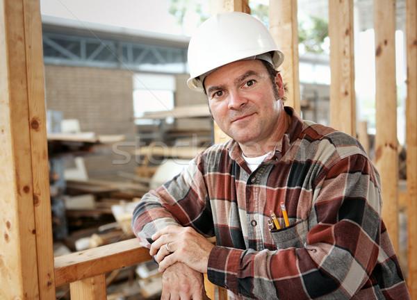 Travailleur de la construction loisirs élégant cadre bâtiment Photo stock © lisafx