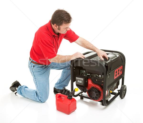 Catastrophe source de courant homme essence 10 électrique Photo stock © lisafx