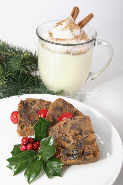 Karácsony gyümölcstorta finom krémes fahéj szerecsendió Stock fotó © lisafx