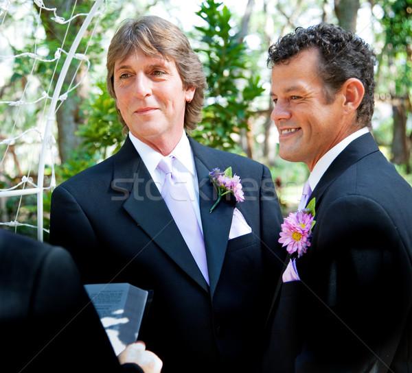 Homo paar bruiloft knap getrouwd outdoor Stockfoto © lisafx