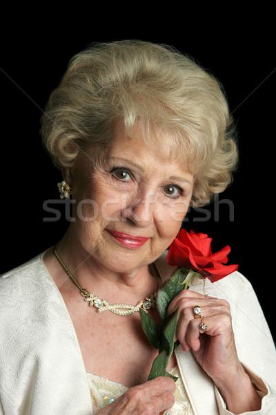 Beautiful Senior Lady with Rose Stock photo © lisafx