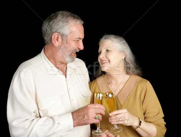 Szampana miłości śmiech piękna starszy para Zdjęcia stock © lisafx