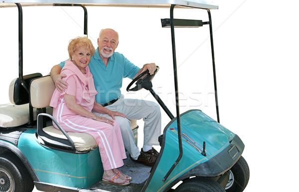 Stockfoto: Golf · winkelwagen · geïsoleerd · aantrekkelijk