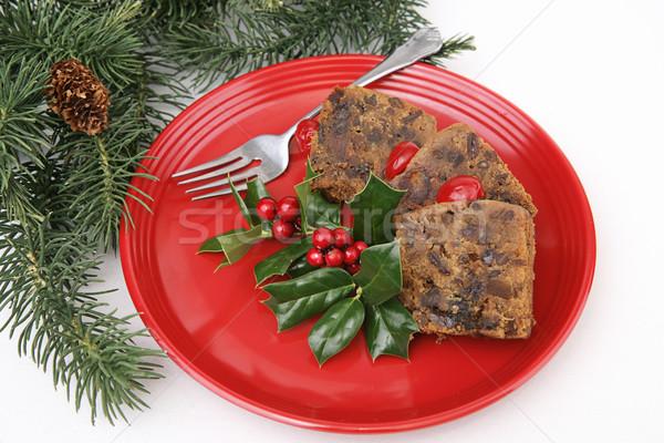 Karácsony gyümölcstorta piros tányér finom fenyőfa Stock fotó © lisafx