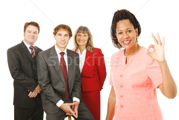 équipe commerciale leader ok portrait Homme femme d'affaires Photo stock © lisafx