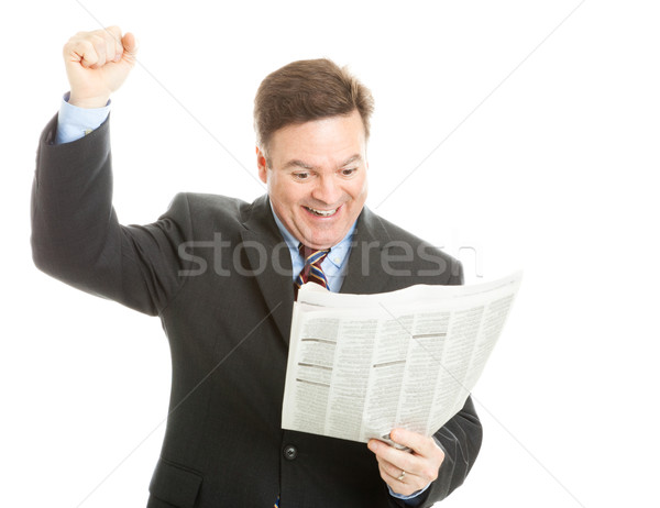 Businessman Reading Good News Stock photo © lisafx