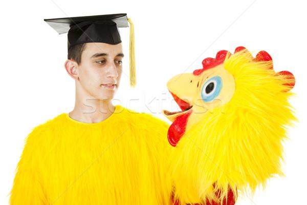 Laurea pollo suit depresso college può Foto d'archivio © lisafx