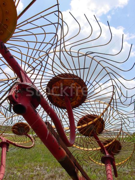 Széna gereblye égbolt mező gazdálkodás szerszám Stock fotó © lisafx