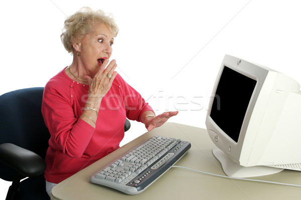 Senior Lady Online - Shocked Stock photo © lisafx