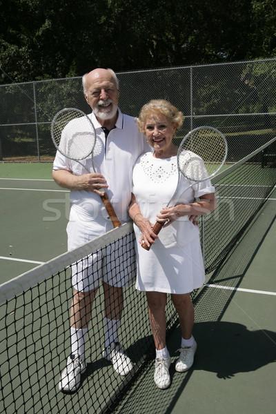 Senior Tennis Couple Full View Stock photo © lisafx
