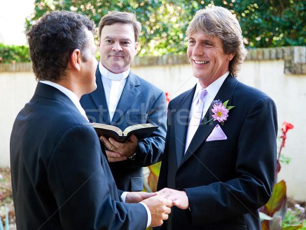 Homo paar bruiloft ringen mannen ring Stockfoto © lisafx