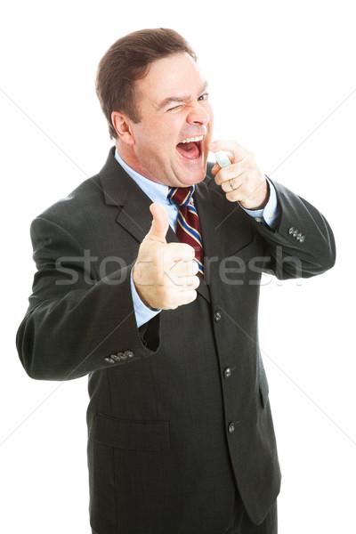 бизнесмен свежие дыхание мята спрей Сток-фото © lisafx