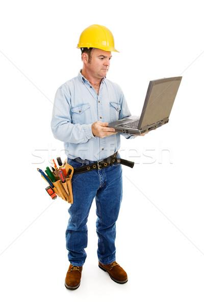 Beszállító számítógép egészalakos kilátás építkezés dolgozik Stock fotó © lisafx