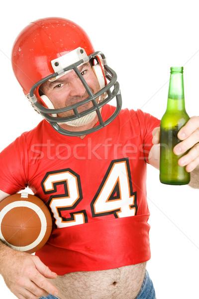 Spor fan soğuk bir orta yaşlı futbol Stok fotoğraf © lisafx