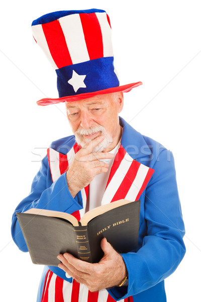 Uncle Sam Reads the Bible Stock photo © lisafx