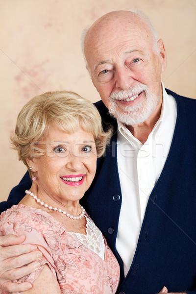 Wyrafinowany starszy para portret w górę data kobieta Zdjęcia stock © lisafx