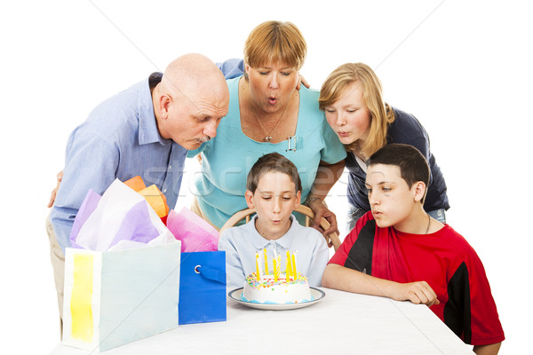 Birthday Family Blows Candles Stock photo © lisafx
