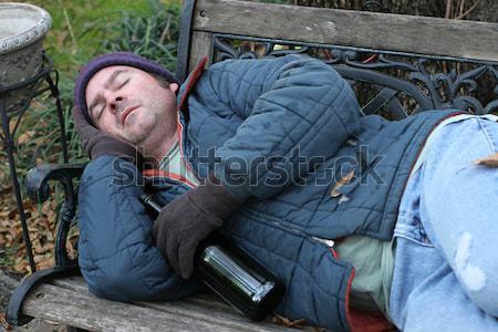 Rosszakaratú gyűlölet bűnözés hajléktalan férfi park Stock fotó © lisafx