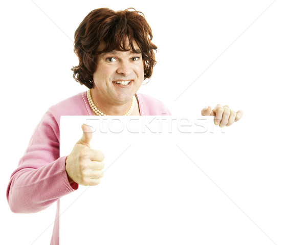 Cross Dresser with Sign - Thumbsup Stock photo © lisafx