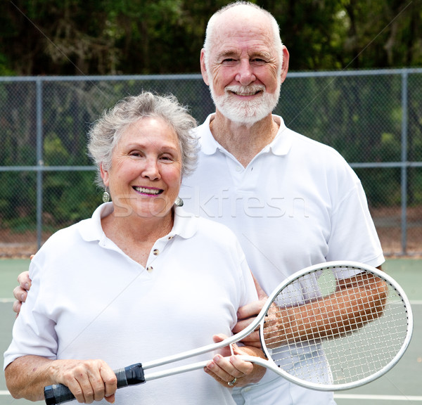 Portret actieve senioren actief tennis vrouw Stockfoto © lisafx