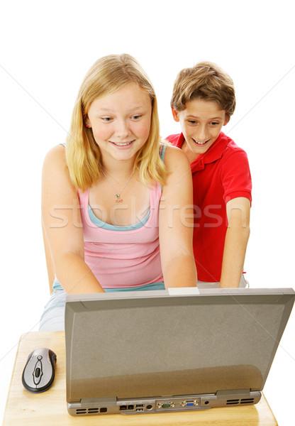 Brat siostra komputera godny podziwu mały chłopca Zdjęcia stock © lisafx