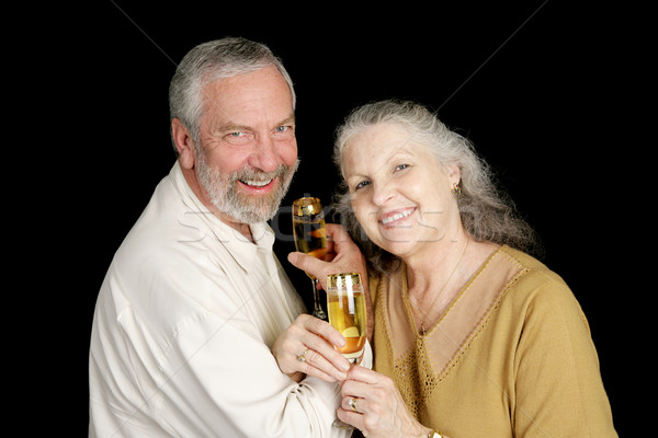 Intime champagne Toast heureux maturité couple Photo stock © lisafx