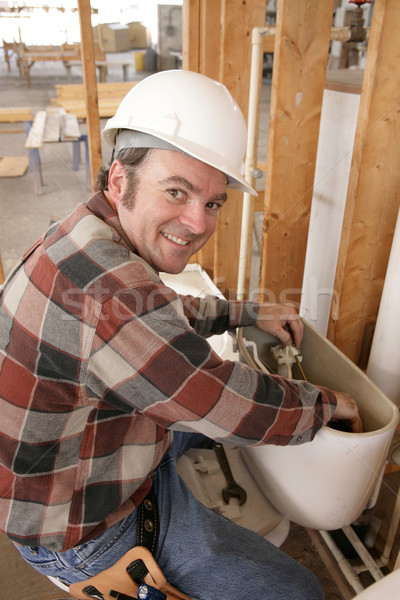 Plumber Repairs Toilet Stock photo © lisafx
