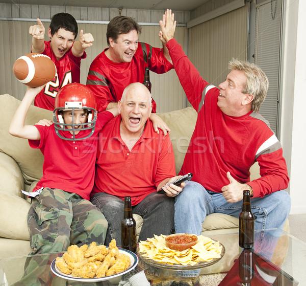 Kazanan futbol fanlar heyecanlı takım aile Stok fotoğraf © lisafx