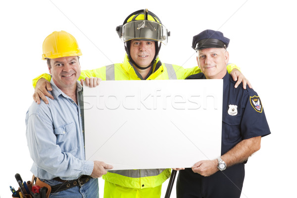 Blue Collar Guys with Sign Stock photo © lisafx