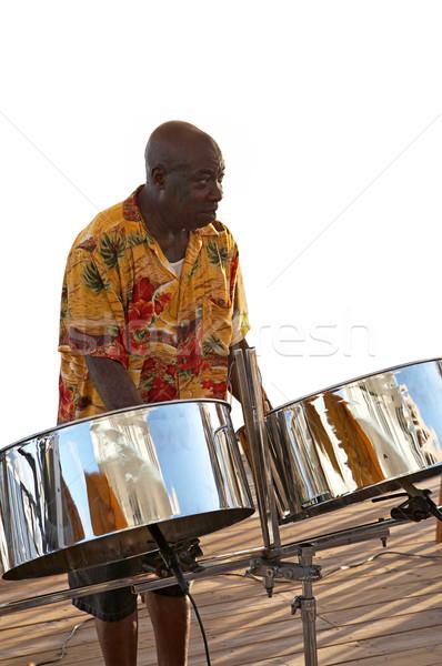 Caribbean muzikant staal drums spelen muziek Stockfoto © lisafx