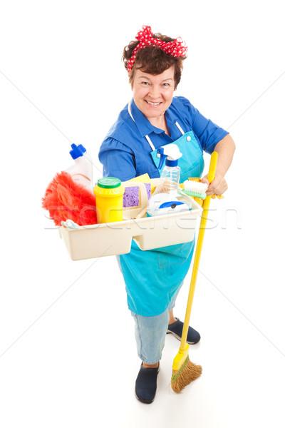 Stok fotoğraf: Hizmetçi · temizleme · ürünleri · dostça · gülen · tepsi