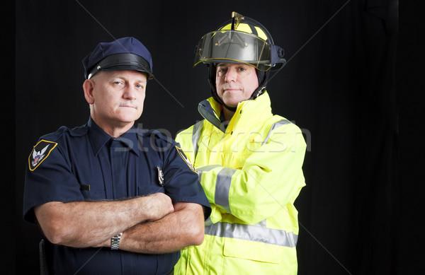 Fireman and Policeman with Copyspace Stock photo © lisafx