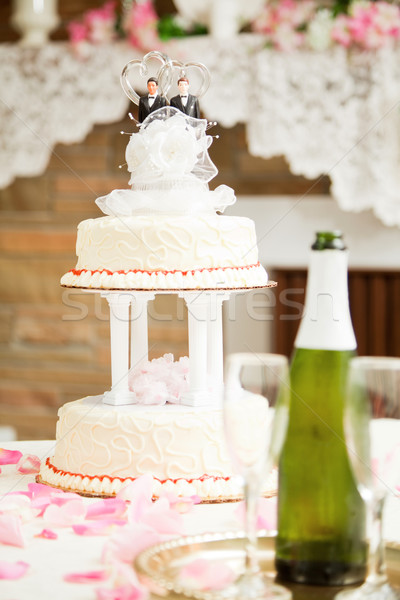 Matrimonio gay wedding cake decorato due reception tavola Foto d'archivio © lisafx