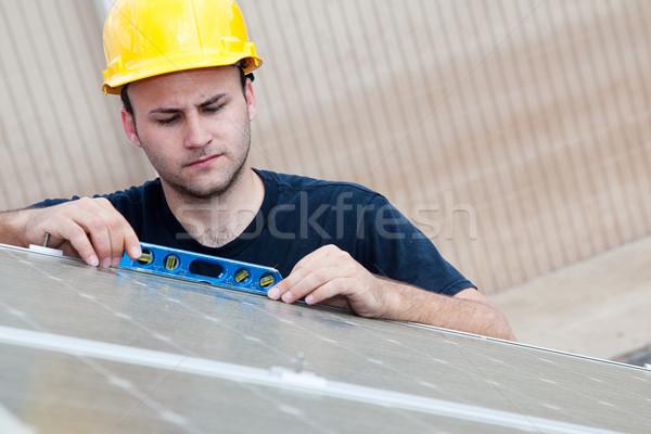 Solar Panels - Checking Level Stock photo © lisafx