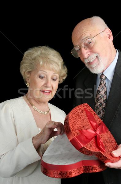 Valentin nap meglepetés idős férfi büszke meglepő Stock fotó © lisafx