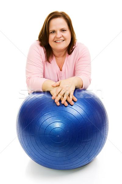 Mujer pilates pelota hermosa modelo Foto stock © lisafx