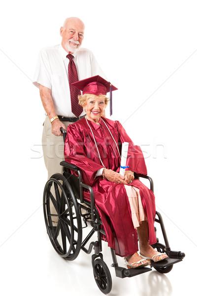 Mozgássérült idős diplomás házastárs idős pár férj Stock fotó © lisafx