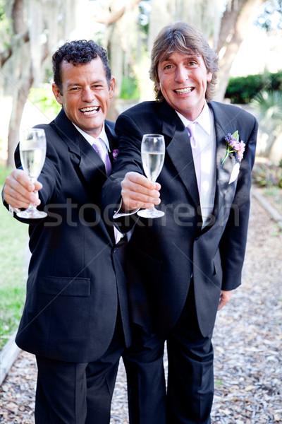 Matrimonio gay due bello champagne Foto d'archivio © lisafx