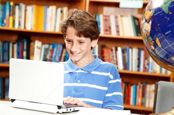 Erkek bilgisayar okul sevimli küçük netbook'lar Stok fotoğraf © lisafx