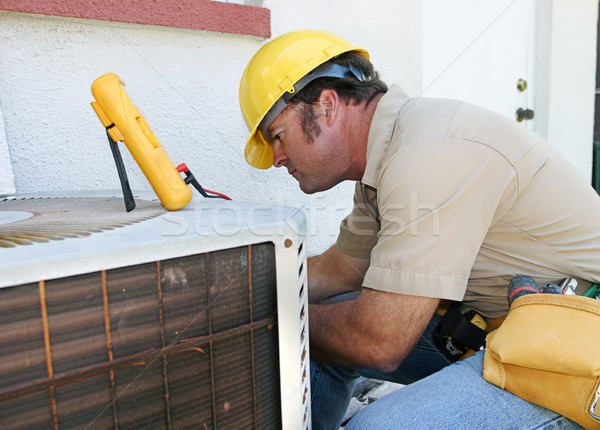 Airconditioning werken huis man bouw Stockfoto © lisafx