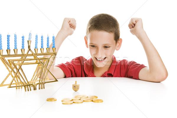 Boy Spinning the Chanukah Dreidel Stock photo © lisafx
