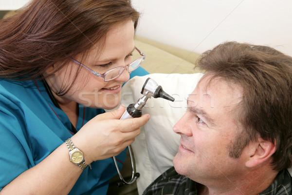 Ev sağlık göz muayenesi hemşire gözler göz Stok fotoğraf © lisafx