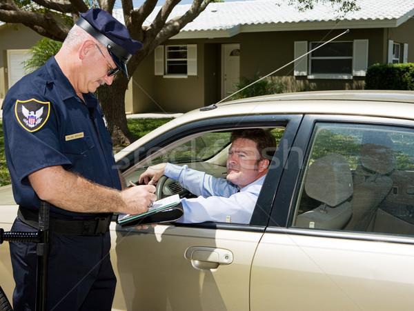 полиции Дать билета полицейский движения несчастный Сток-фото © lisafx