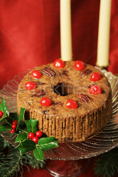 Karácsony gyümölcstorta csendélet üveg tányér torta Stock fotó © lisafx