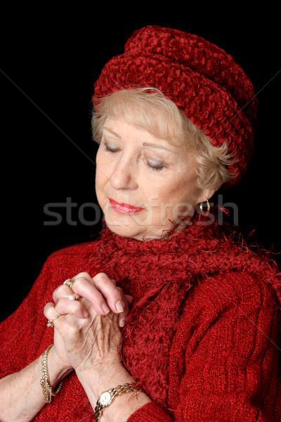 献身的な シニア 女性 美しい 赤 手 ストックフォト © lisafx