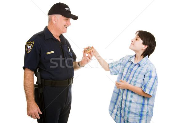 пончик полицейский подросток мальчика полицейский изолированный Сток-фото © lisafx